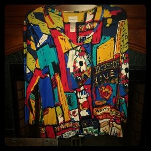 NWT Chico's sz 1 Times Square View 3/4 sleeve top